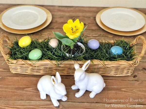 Easter table centerpieces with tulips and ceramic bunnies