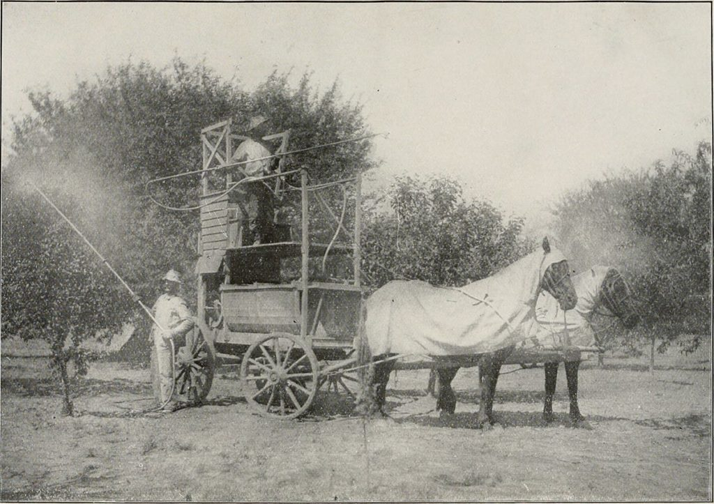 Early farmers spread pesticides with horses who were protected.